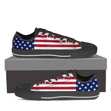 Black And Blue Flag Women U0027s Usa Flag Black Low Top The Shoppers Outlet