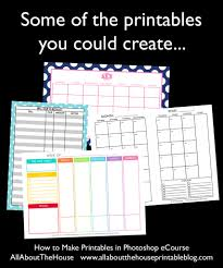 homemade planner templates how to make printables in photoshop step by step video tutorials how to make printables in photoshop ecourse diy planner inserts custom planner personalised agenda daily organizer