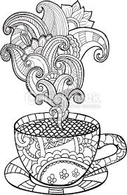 vector coffee or tea cup with abstract ornaments vector