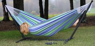 best double hammock with portable stand relaxing on summer days