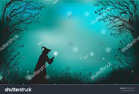 magic halloween background deep fairy forest silhouette witch magic stock vector 323097254