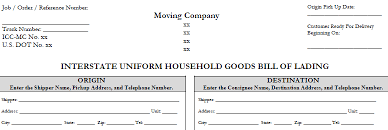 Household Goods Move Estimate by Household Goods Bill Of Lading Sle Form Office Of David