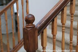 How To Restain Banister Diy Stair Railing Makeover Page 2 Of 2 Blooming Homestead