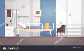hospital room interior intensive therapy patient stock vector