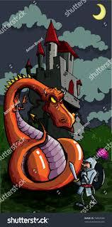 cartoon knight facing fierce dragon medieval stock vector 74602585