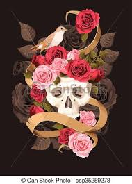 vector illustration of vintage human skull with roses and