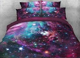 Galaxy Bed Set Onlwe 3d And Multicolored Galaxy Printed Cotton 4