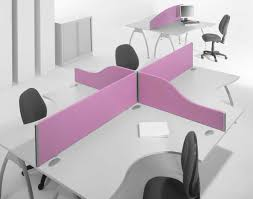 two person desk home office with coolest purple devider and nice