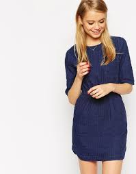asos waisted denim t shirt dress in textured fabric in blue lyst