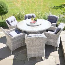 Round Garden Table With Lazy Susan by Lg Outdoor Marseille Barley 6 Seat Rattan Garden Set U0026 Lazy Susan