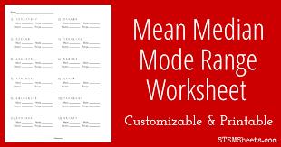 mean median worksheet worksheets