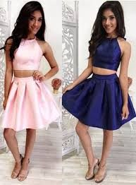 inexpensive two piece short pink homecoming dress navy homecoming