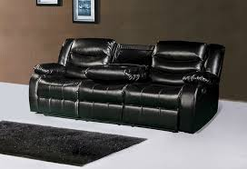 black leather reclining sofa with drop down console