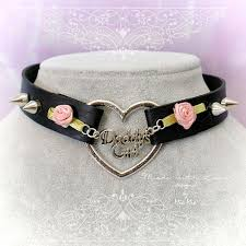 heart collar choker necklace images Bdsm daddys girl choker necklace black faux leather heart pink jpeg