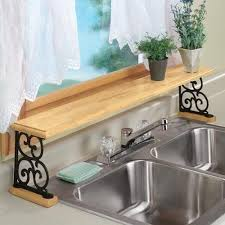 sink racks kitchen accessories double sink wood and cast iron over the sink shelf amazon com