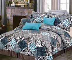 Black White Turquoise Teal Blue by Total Fab Black White And Turquoise Bedding Sets