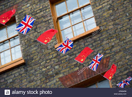 Chineses Flag Union Jack And Chinese Flag Bunting Chinatown London England