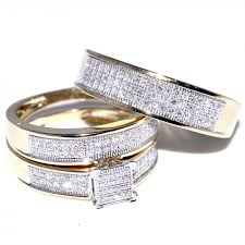 real diamonds rings images Yellow gold trio wedding set mens women rings real 0 53ct diamonds jpg