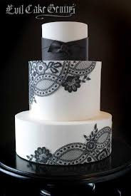 wedding cake black and white with lace design google search