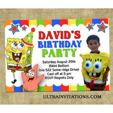 spongebob square pants rainbow birthday party personalized invites