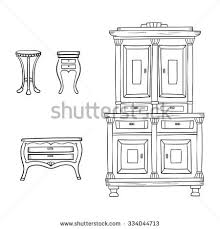photo bureau antique furniture set closet nightstand bureau เวกเตอร สต อก