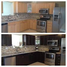 Gel Stain Kitchen Cabinets Before After Staining Kitchen Cabinets Darker Before And After Pictures