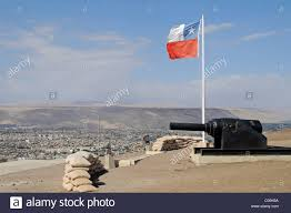 Chilian Flag Overview Chilean Flag Guns Sand Bags El Morro Mountain Stock