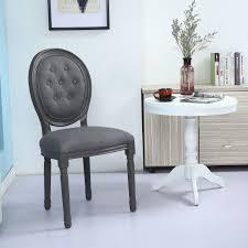 chaise capitonn e grise lot de 2 chaises médaillon bois gris et tissu capitonné gris