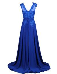 elegant a line scoop sweep train chiffon royal blue bridesmaid