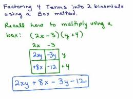 factoring 4b use box to factor 4 terms help video in high