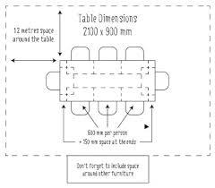 standard table length home design