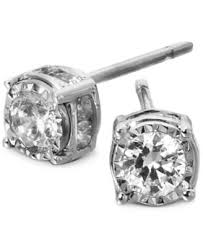 diamond stud trumiracle diamond stud earrings in 14k white gold 1 ct t w