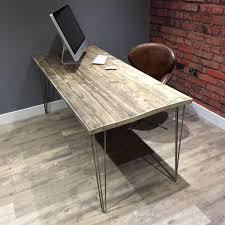 Industrial Office Desks by Reclaimed Industrial Scaffold Board Office Desk With Metal