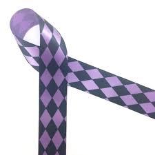 purple satin ribbon harlequin print in black and white on single satin ribbon
