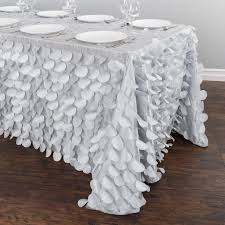 90 x 132 in rectangular petal tablecloth silver for weddings and