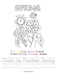 color by number spring worksheet twisty noodle
