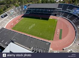 aerial view above olympic stadium montreal quebec canada stock