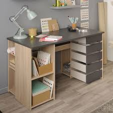 bureau chene clair couleur chêne clair et gris foncé moderne tourni