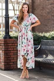 tie waist short sleeve floral maxi dress cream the mint julep