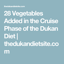 28 vegetables added in the cruise phase of the dukan diet