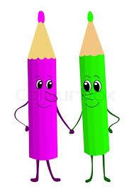 cartoon pencils friends stock photo colourbox