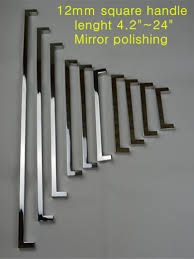 length 108mm 12 12mm square bar door handle mirror stainless steel