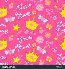 pink little princess pattern vector stock vector 622165577