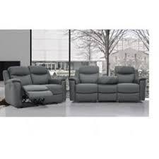 canapé 3 et 2 places vente unique canapé 3 2 places relax evasion en cuir gris avec
