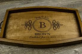 engraved serving tray personalized serving tray wine barrel wedding gift anniversary