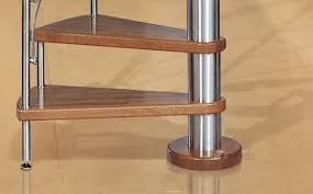 spiral staircase wooden steps stainless steel frame without