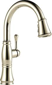 polished nickel kitchen faucets delta faucet 9197 pn dst single handle pull kitchen faucet