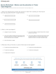 Speed Velocity And Acceleration Worksheet With Answers Quiz Worksheet Motion And Acceleration In Ticker Diagrams