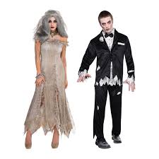 mens ladies zombie dead bride groom couples costume