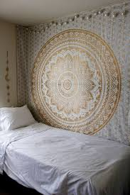 sparkly golden flower trippy ombre mandala glimmer wall tapestry